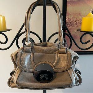 MIMCO Tan Clip Front Shoulder Multi Pocket Bag